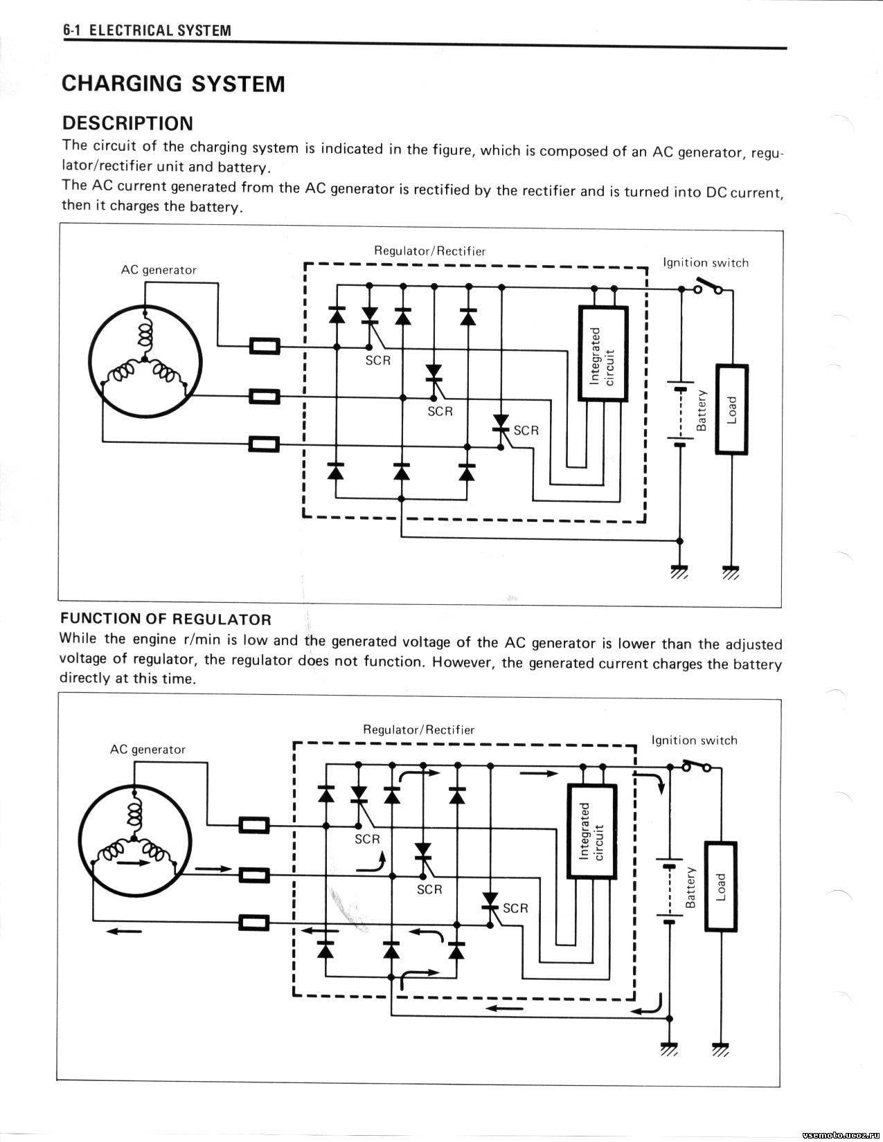 По схеме видно, что к РР идут три провода от фаз генератора и от РР идут два провода к аккумулятору.